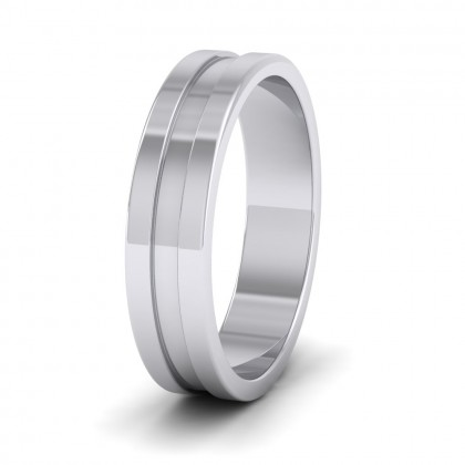 Flat Grooved 950 Platinum 5mm Flat Wedding Ring
