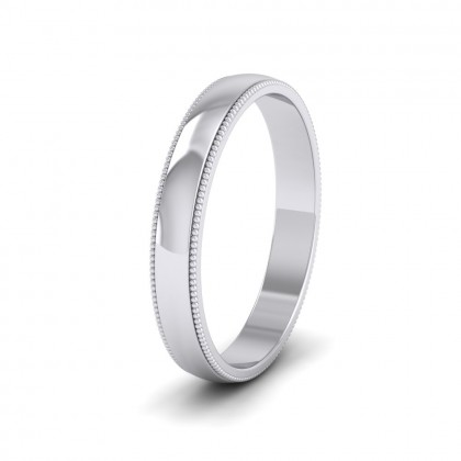 Millgrained Edge 9ct White Gold 3mm Wedding Ring