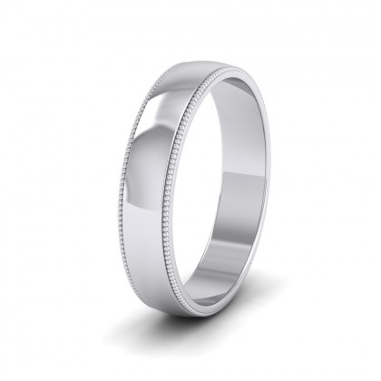 Millgrained Edge 14ct White Gold 4mm Wedding Ring
