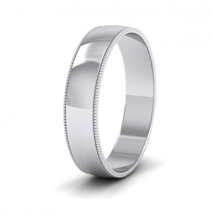 Millgrained Edge 9ct White Gold 5mm Wedding Ring