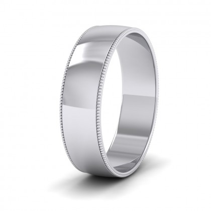 Millgrained Edge 9ct White Gold 6mm Wedding Ring