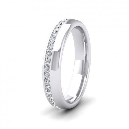 Assymetric Full Channel Set Diamond 9ct White Gold 4mm Ring