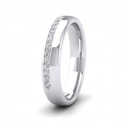 Assymetric Half Channel Set Diamond 950 Platinum 4mm Ring