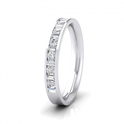 Channel Set Alternate Baguette And Round Diamond 950 Platinum 3mm Ring