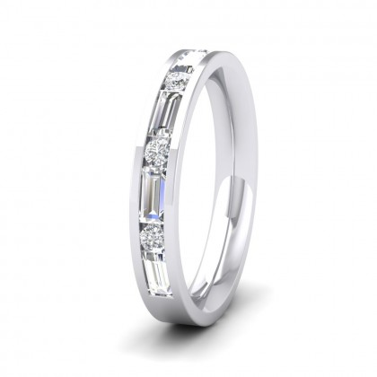 Channel Set Alternate Baguette And Round Diamond 950 Palladium 3.5mm Ring