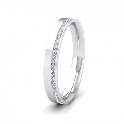 Assymetric Full Channel Set Diamond 9ct White Gold 3mm Ring