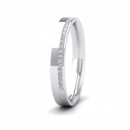 Assymetric Half Channel Set Diamond 9ct White Gold 3mm Ring
