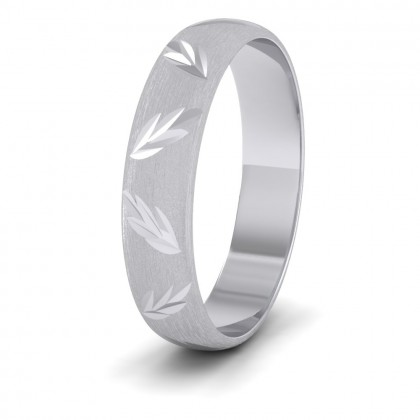 Leaf Cut Pattern 9ct White Gold 4mm Wedding Ring