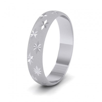 Star Patterned 9ct White Gold 4mm Wedding Ring