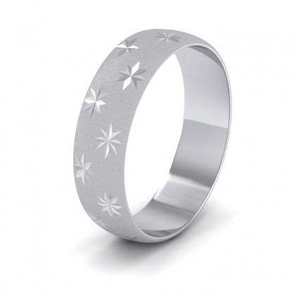 Star Patterned 9ct White Gold 6mm Wedding Ring