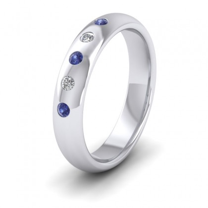 Blue Sapphire And Diamond Flush Set 9ct White Gold 4mm Wedding Ring