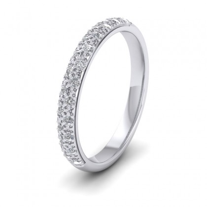 Pave Set Diamond (0.176ct) 9ct White Gold 2.5mm Wedding Ring
