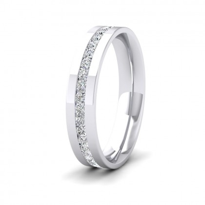 Full Channel Set Round Diamond (0.6ct) 9ct White Gold Flat 4mm Ring