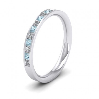 Channel Set Diamond And Aquamarine 9ct White Gold 2.5mm Wedding Ring