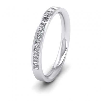 Channel Set Diamond 9ct White Gold 2.5mm Wedding Ring