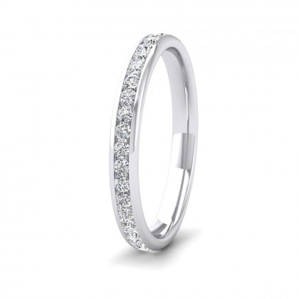 Full Channel Set 0.48ct Round Brilliant Cut Diamond 950 Palladium 2.5mm Ring