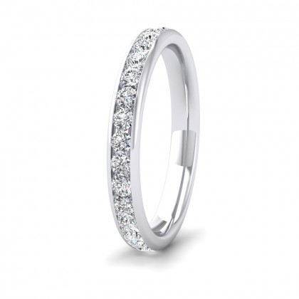 Full Channel Set 0.7ct Round Brilliant Cut Diamond 950 Platinum 2.75mm Ring