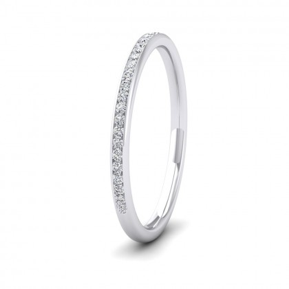 Half Channel Set 0.13ct Round Brilliant Cut Diamond 18ct White Gold 1.5mm Ring