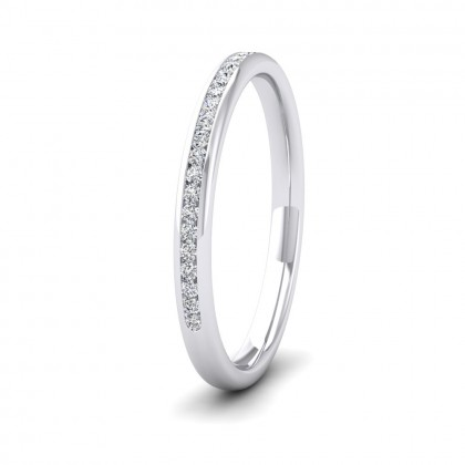 Half Channel Set 0.13ct Round Brilliant Cut Diamond 9ct White Gold 2mm Ring