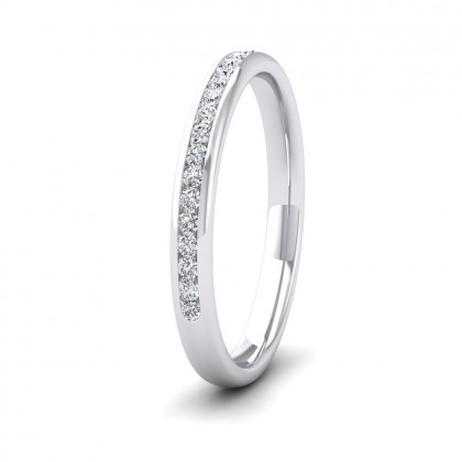 Half Channel Set 0.22ct Round Brilliant Cut Diamond 9ct White Gold 2.25mm Ring