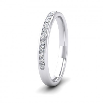 Half Channel Set 0.24ct Round Brilliant Cut Diamond 9ct White Gold 2.5mm Ring