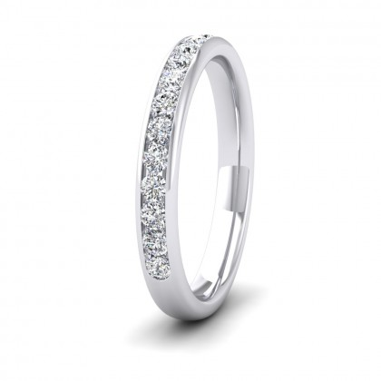 Half Channel Set 0.34ct Round Brilliant Cut Diamond 9ct White Gold 2.75mm Ring