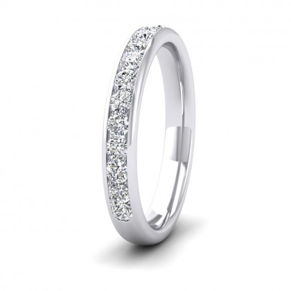 Half Channel Set 0.49ct Round Brilliant Cut Diamond 950 Palladium 3mm Ring