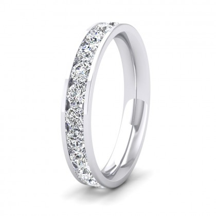 Full Channel Set 1.4ct Round Brilliant Cut Diamond 950 Palladium 3.5mm Ring