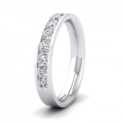 Half Channel Set 0.75ct Round Brilliant Cut Diamond 950 Platinum 3.5mm Ring