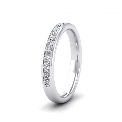 Ten Stone 0.3ct Channel Set Diamond 9ct White Gold 3mm Ring