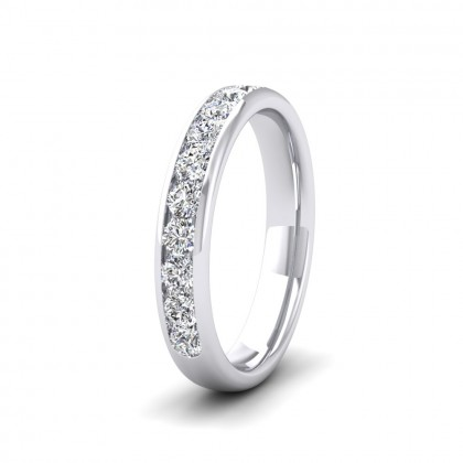 Ten Stone 0.5ct Channel Set Diamond 950 Palladium 3.5mm Ring