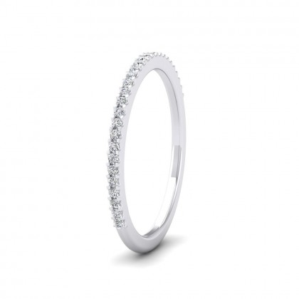 Round Claw 0.13ct Half Diamond Set 18ct White Gold 1.5mm Ring