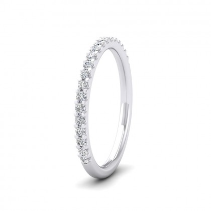 Round Claw 0.25ct Half Diamond Set 950 Platinum 2mm Ring