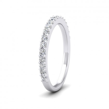 Round Claw 0.34ct Half Diamond Set 18ct White Gold 2.25mm Ring