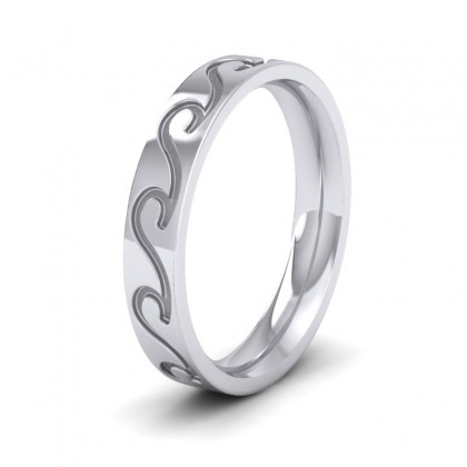 Wave Pattern 950 Platinum 4mm Wedding Ring