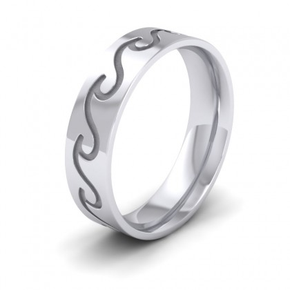Wave Pattern Sterling Silver 6mm Wedding Ring