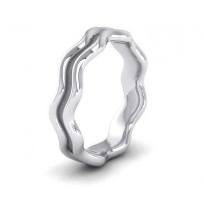 Double Wave Sterling Silver 4mm Wedding Ring