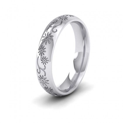 Daisy Pattern 950 Platinum 4mm Wedding Ring