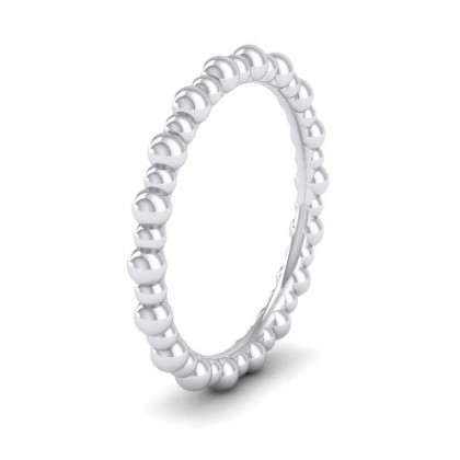 Bobbly 9ct White Gold 2mm Wedding Ring