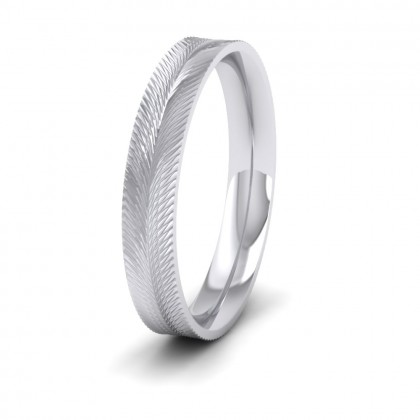 Feather Pattern 950 Platinum 4mm Wedding Ring