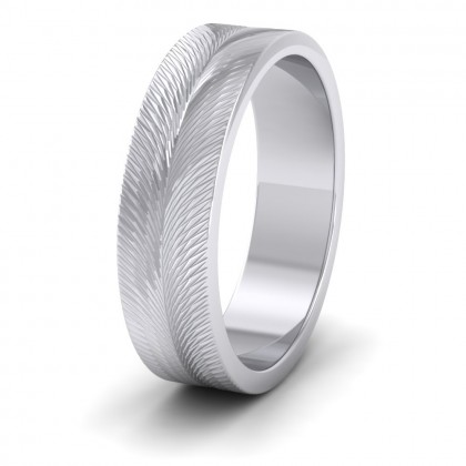 Feather Pattern 950 Platinum 6mm Wedding Ring