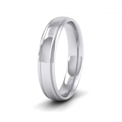 Edge Line Patterned 9ct White Gold 4mm Wedding Ring