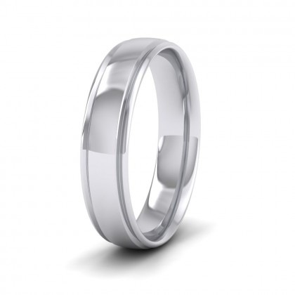 Edge Line Patterned 9ct White Gold 5mm Wedding Ring