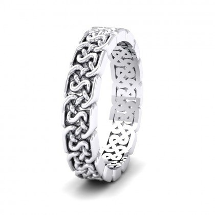 Open Celtic Patterned 9ct White Gold 4mm Wedding Ring