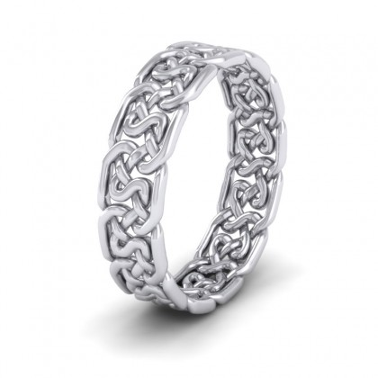 Open Celtic Patterned 9ct White Gold 6mm Wedding Ring