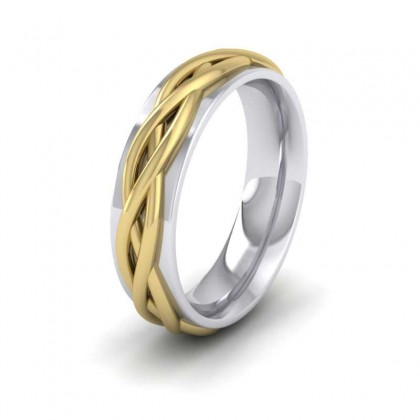 Weave Twist Patterned Two Colour Flat 950 Palladium 6mm Wedding Ring