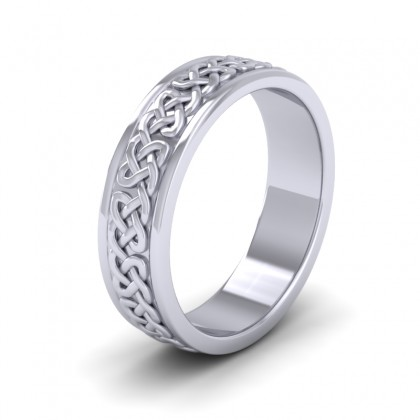 Celtic Pattern With Edge Flat 9ct White Gold 6mm Wedding Ring