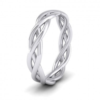Triple Weave 9ct White Gold 4mm Wedding Ring