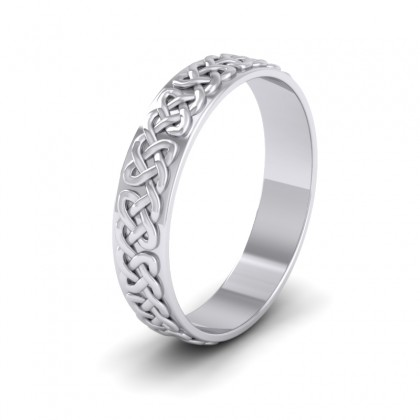 Celtic Patterned Flat 9ct White Gold 4mm Wedding Ring