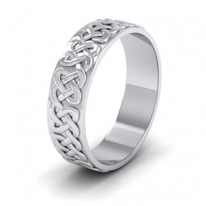 Celtic Patterned Flat 9ct White Gold 6mm Wedding Ring
